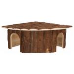 Casetta angolare Jesper in legno naturale per conigli cm37x37 h 18