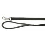 Guinzaglio premium doppio con maniglia neoprene XS-S 15 mm x 1,2 m NERO
