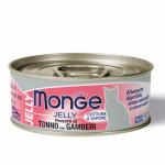 Monge Jelly pezzi tonno e gamberetti 85g