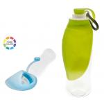 Bottiglia con ciotola da passeggio 500ml cm22x8,5 AZZURRO