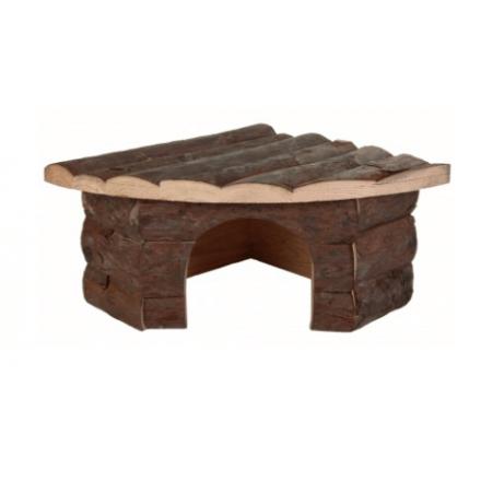Casetta angolare Jesper in legno naturale per porcellini d\'india cm21x21h13