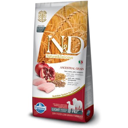 N&D Pollo e Melograno Low Grain LIGHT - Adult Medium-maxi 12kg