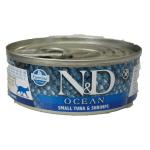 N&D Ocean, Tonno e Gambero umido gatto 80g