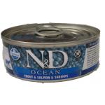 N&D Ocean, Trota, Salmone eGambero umido gatto 80g