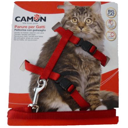 Parure pettorina e guinzaglio per gatti grandi ROSSO