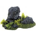 Roccia con erba decorazione acquario S cm 20x10h12